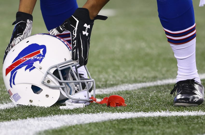 FOXBORO, MA - NOVEMBER 23: A helmet is shown before a game between the New England Patriots and the Buffalo Bills at Gillette Stadium on November 23, 2015 in Foxboro, Massachusetts. (Photo by Maddie Meyer/Getty Images)