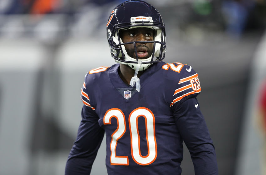 DETROIT, MI - DECEMBER 16: Prince Amukamara #20 of the Chicago Bears warms up prior to the start of the game against the Detroit Lions at Ford Field on December 16, 2017 in Detroit, Michigan. Detroit defeated Chicago 20-10. (Photo by Leon Halip/Getty Images)