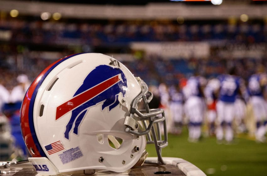 ORCHARD PARK, NY - AUGUST 28: A helmet for the Buffalo Bills sits on the sidelines during the second half of a preseason game against the Detroit Lions at Ralph Wilson Stadium on August 28, 2014 in Orchard Park, New York. (Photo by Michael Adamucci/Getty Images)