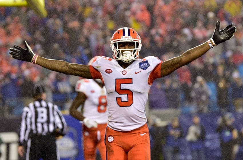 CHARLOTTE, NC - DECEMBER 01: Tee Higgins #5 of the Clemson Tigers reacts after scoring a touchdown against the Pittsburgh Panthers during the second quarter of their game at Bank of America Stadium on December 1, 2018 in Charlotte, North Carolina. (Photo by Grant Halverson/Getty Images)