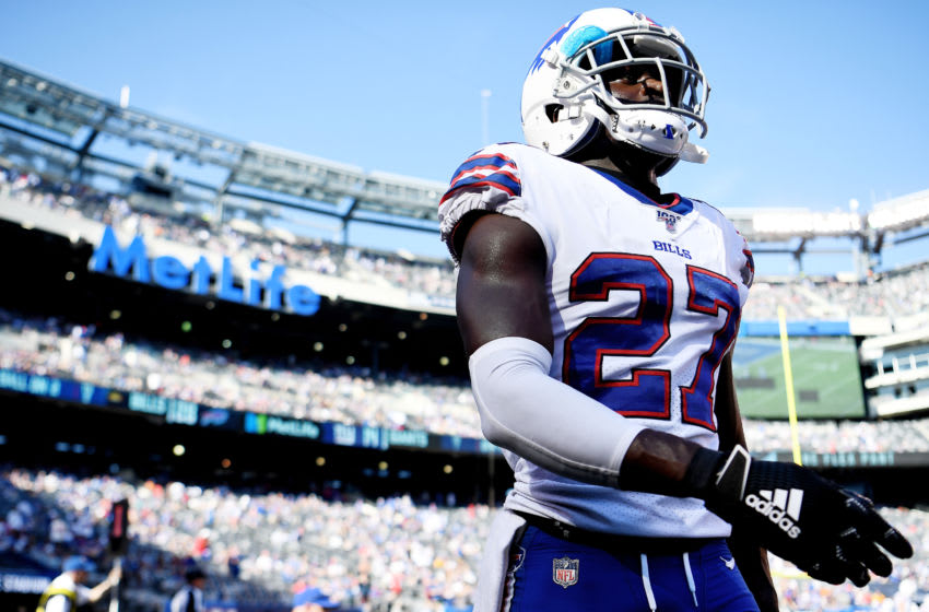 EAST RUTHERFORD, NEW JERSEY - SEPTEMBER 15: Tre'Davious White #27 of the Buffalo Bills looks on during the fourth quarter of the game against the New York Giants at MetLife Stadium on September 15, 2019 in East Rutherford, New Jersey. (Photo by Sarah Stier/Getty Images)