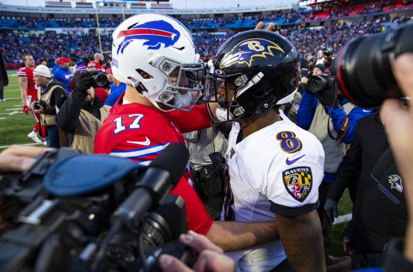ORCHARD PARK, NY - DECEMBER 08: Josh Allen #17 of the Buffalo Bills shakes hands with Lamar Jackson #8 of the Baltimore Ravens after the game at New Era Field on December 8, 2019 in Orchard Park, New York. Baltimore defeats Buffalo 24-17. (Photo by Brett Carlsen/Getty Images)