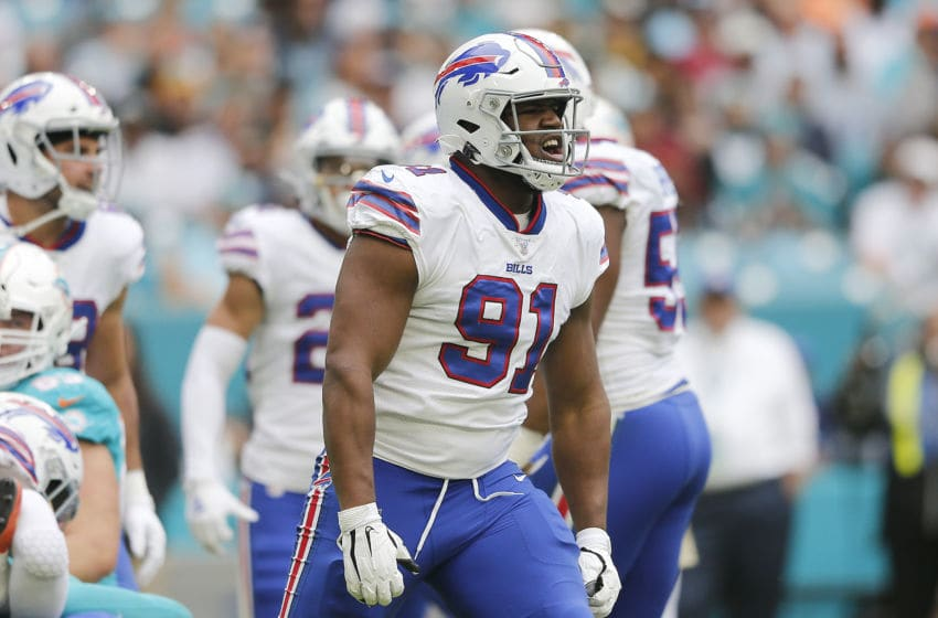 MIAMI, FLORIDA - NOVEMBER 17: Ed Oliver #91 of the Buffalo Bills reacts after a sack against the Miami Dolphins during the first quarter at Hard Rock Stadium on November 17, 2019 in Miami, Florida. (Photo by Michael Reaves/Getty Images)