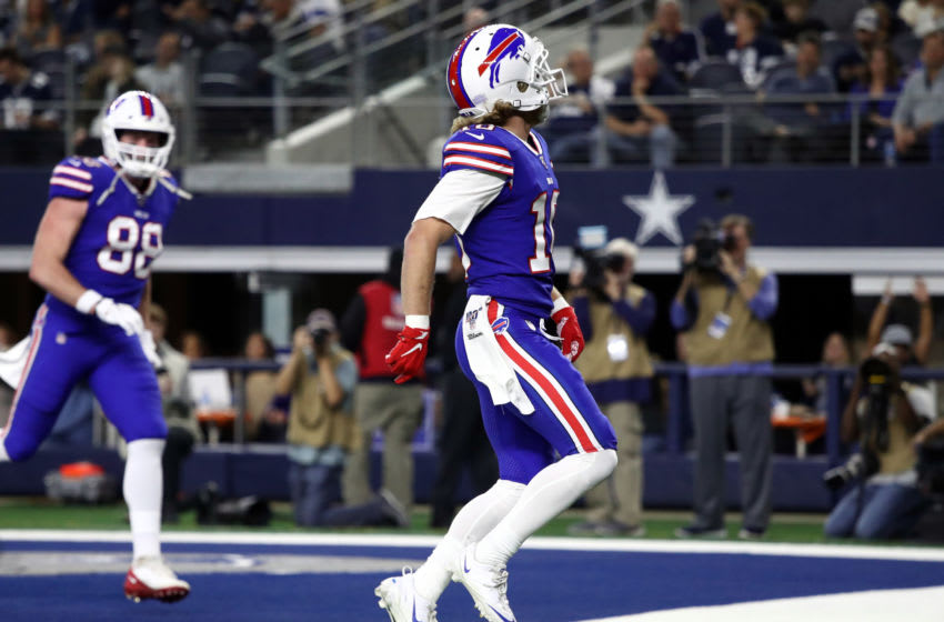 ARLINGTON, TEXAS - NOVEMBER 28: Cole Beasley #10 of the Buffalo Bills celebrates a touchdown against the Dallas Cowboys at AT&T Stadium on November 28, 2019 in Arlington, Texas. (Photo by Ronald Martinez/Getty Images)