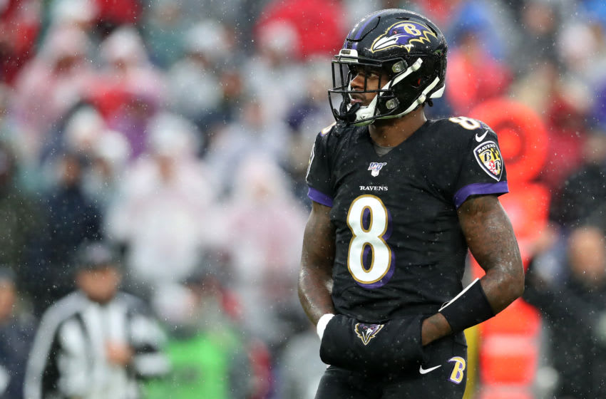 BALTIMORE, MARYLAND - DECEMBER 01: Quarterback Lamar Jackson #8 of the Baltimore Ravens looks on against the San Francisco 49ers in the second half at M&T Bank Stadium on December 01, 2019 in Baltimore, Maryland. (Photo by Rob Carr/Getty Images)