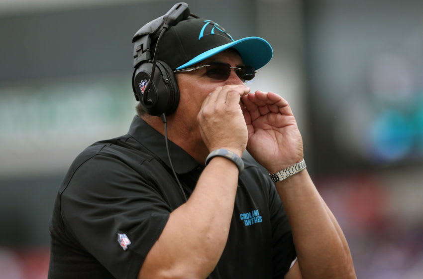 ORCHARD PARK, NY - SEPTEMBER 15: Head coach Ron Rivera of the Carolina Panthers yells from the sideline during NFL game action against the Buffalo Bills at Ralph Wilson Stadium on September 15, 2013 in Orchard Park, New York. (Photo by Tom Szczerbowski/Getty Images)
