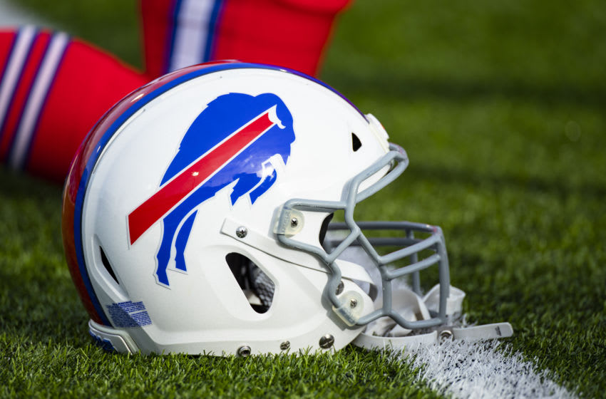 ORCHARD PARK, NY - DECEMBER 08: Detail view of a Buffalo Bills helmet on the field before the game against the Baltimore Ravens at New Era Field on December 8, 2019 in Orchard Park, New York. Baltimore defeats Buffalo 24-17. (Photo by Brett Carlsen/Getty Images)