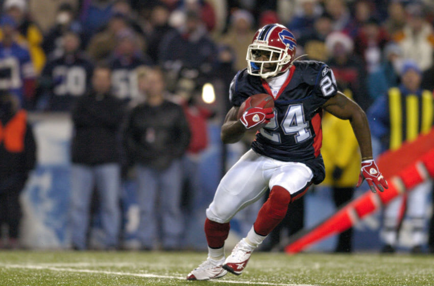 Buffalo Bills cornerback Terrence McGee returns a kickoff in a game against the Denver Broncos at Ralph Wilson Stadium in Orchard Park, New York on December 17, 2005. Denver won the game 28-17. (Photo by Mark Konezny/NFLPhotoLibrary)