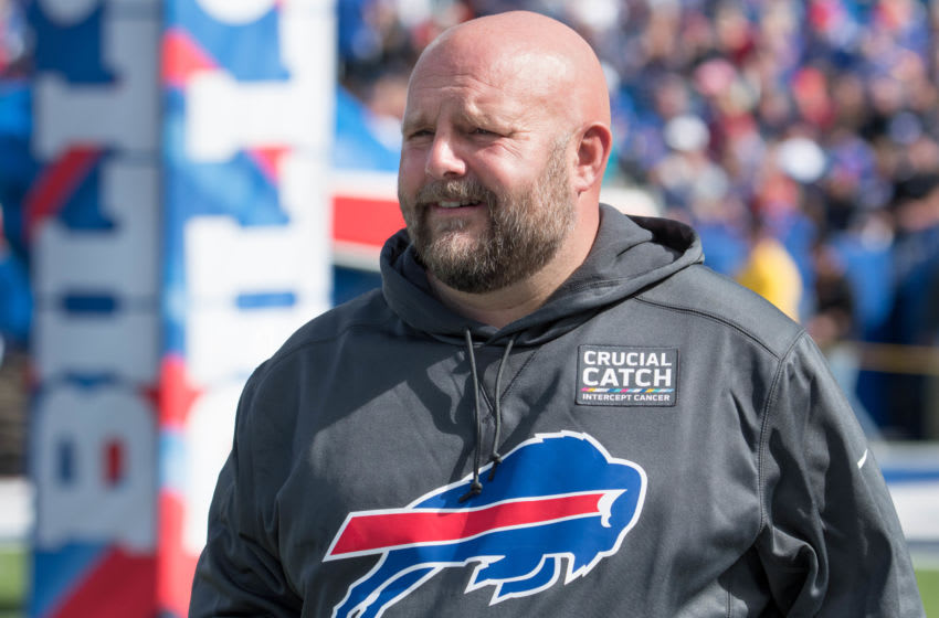 Oct 20, 2019; Orchard Park, NY, USA; Buffalo Bills offensive coordinator Brian Daboll enters the field prior to a game against the Miami Dolphins at New Era Field. Mandatory Credit: Mark Konezny-USA TODAY Sports