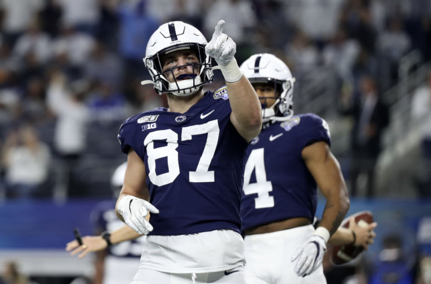 Dec 28, 2019; Arlington, Texas, USA; Penn State Nittany Lions tight end Pat Freiermuth (87) reacts after scoring a two point conversion during the second half against the Memphis Tigers at AT&T Stadium. Mandatory Credit: Kevin Jairaj-USA TODAY Sports