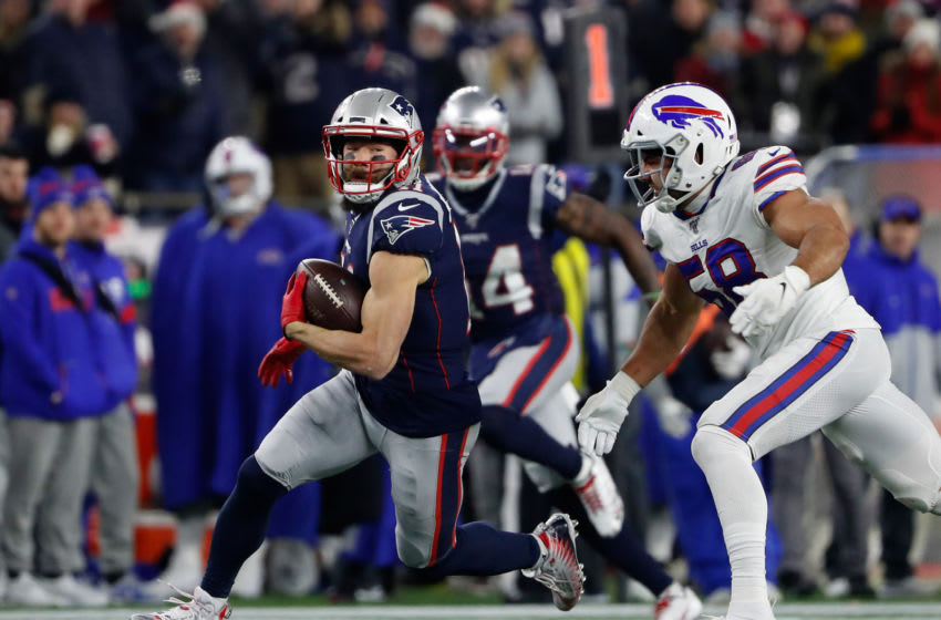 Dec 21, 2019; Foxborough, Massachusetts, USA; New England Patriots wide receiver Julian Edelman (11) runs against the Buffalo Bills during the second half at Gillette Stadium. Mandatory Credit: Winslow Townson-USA TODAY Sports