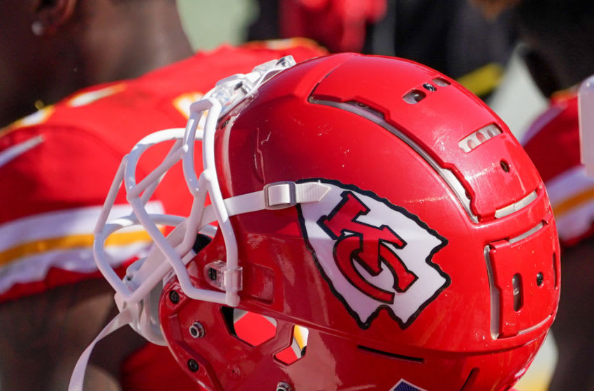 Oct 11, 2020; Kansas City, Missouri, USA; A general view of a Kansas City Chiefs helmet on the sidelines during the game against the Las Vegas Raiders at Arrowhead Stadium. Mandatory Credit: Denny Medley-USA TODAY Sports
