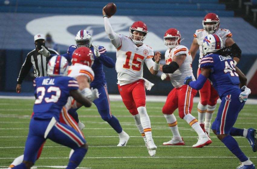 Chief's quarterback Patrick Mahomes is pressured but still makes an off-balance throw in a 26-17 win over the Bills. Mahomes threw for 225 yards and two touchdowns. Jg 101920 Bills 7