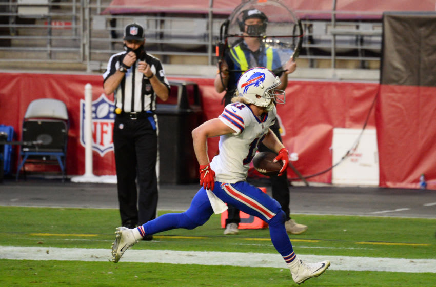 Nov 15, 2020; Glendale, Arizona, USA; Buffalo Bills wide receiver Cole Beasley (11) scores a touchdown against the Arizona Cardinals during the second half at State Farm Stadium. Mandatory Credit: Joe Camporeale-USA TODAY Sports