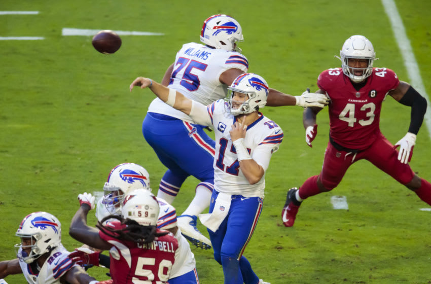 Nov 15, 2020; Glendale, Arizona, USA; Buffalo Bills quarterback Josh Allen (17) against the Arizona Cardinals in the second half at State Farm Stadium. Mandatory Credit: Mark J. Rebilas-USA TODAY Sports