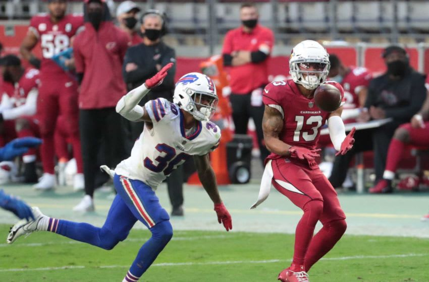Arizona Cardinals wide receiver Christian Kirk (13) catches a pass while defended by Buffalo Bills cornerback Dane Jackson (30) during the third quarter at State Farm Stadium in Glendale, Ariz. Nov. 15, 2020. Buffalo Bills Vs Arizona Cardinals