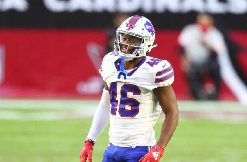 Nov 15, 2020; Glendale, Arizona, USA; Buffalo Bills safety Jaquan Johnson (46) against the Arizona Cardinals at State Farm Stadium. Mandatory Credit: Mark J. Rebilas-USA TODAY Sports