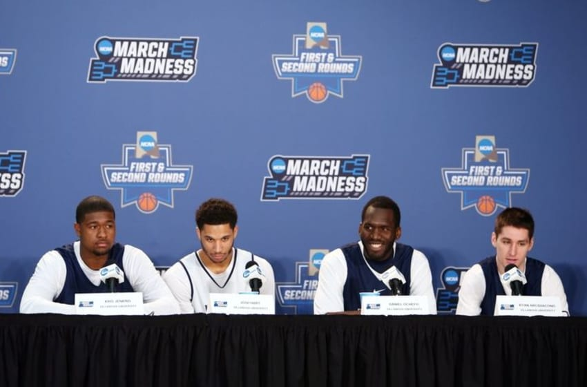 Mar 17, 2016; Brooklyn, NY, USA; Villanova Wildcats players from left Kris Jenkins , Josh Hart , Daniel Ochefu and Ryan Arcidiacono at a press conference during a practice day before the first round of the NCAA men