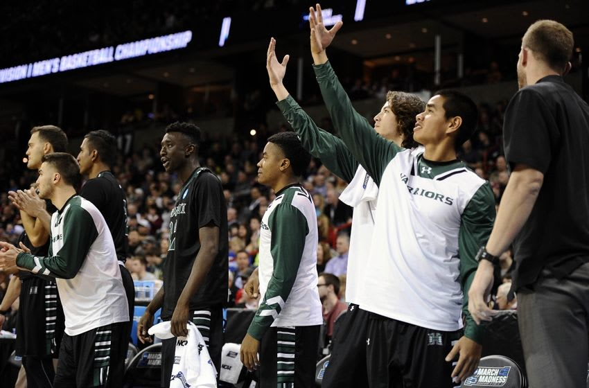 March 18, 2016; Spokane , WA, USA; Hawaii Rainbow Warriors bench reacts against California Golden Bears during the second half of the first round of the 2016 NCAA Tournament at Spokane Veterans Memorial Arena. Mandatory Credit: James Snook-USA TODAY Sports