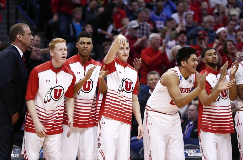 Mar 17, 2016; Denver , CO, USA; Utah Utes bend cheers on their teammates in the closing minute in the second half of Utah vs Fresno State in the first round of the 2016 NCAA Tournament at Pepsi Center. Mandatory Credit: Isaiah J. Downing-USA TODAY Sports