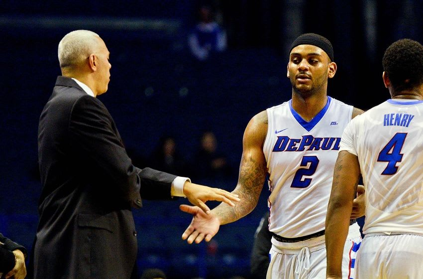 Dec 5, 2015; Rosemont, IL, USA; DePaul Blue Demons head coach Dave Leitao talks with DePaul Blue Demons center Tommy Hamilton IV (2) after he was ejected for elbowing Chicago State Cougars forward Trayvon Palmer (not pictured) in the second half of the game at Allstate Arena. DePaul beat Chicago State 96-72. Mandatory Credit: Matt Marton-USA TODAY Sports