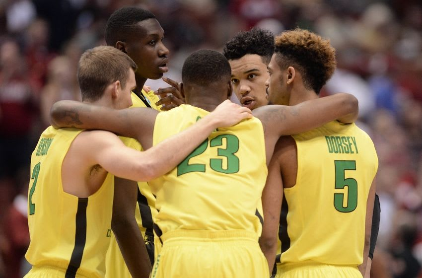 March 26, 2016; Anaheim, CA, USA; Oregon Ducks forward Dillon Brooks (24), forward Elgin Cook (23) an dguard Tyler Dorsey (5) gather before playing against Oklahoma Sooners during the first half of the West regional final of the NCAA Tournament at Honda Center. Mandatory Credit: Robert Hanashiro-USA TODAY Sports