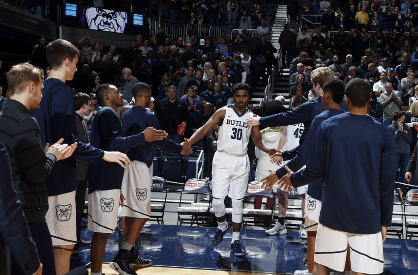 Dec 21, 2016; Indianapolis, IN, USA; Butler Bulldogs forward Kelan Martin (30) is introduced before the game against the Vermont Catamounts at Hinkle Fieldhouse. Mandatory Credit: Brian Spurlock-USA TODAY Sports