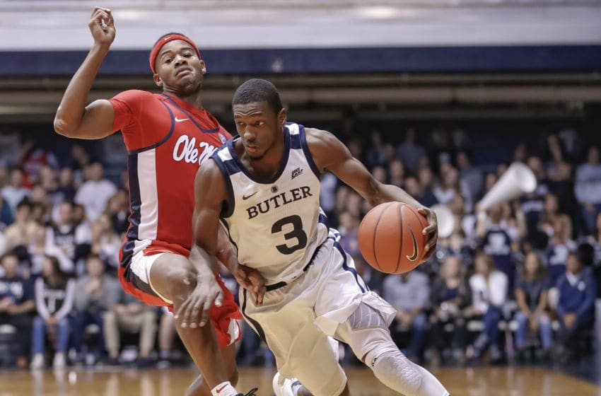 INDIANAPOLIS, IN - NOVEMBER 16: Kamar Baldwin #3 of the Butler Bulldogs dribbles the ball around Terence Davis #3 of the Mississippi Rebels at Hinkle Fieldhouse on November 16, 2018 in Indianapolis, Indiana. (Photo by Michael Hickey/Getty Images)