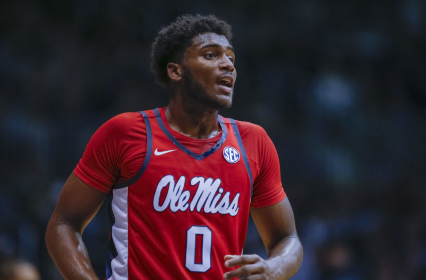 INDIANAPOLIS, IN - NOVEMBER 16: Blake Hinson #0 of the Mississippi Rebels is seen during the game against the Butler Bulldogs at Hinkle Fieldhouse on November 16, 2018 in Indianapolis, Indiana. (Photo by Michael Hickey/Getty Images)