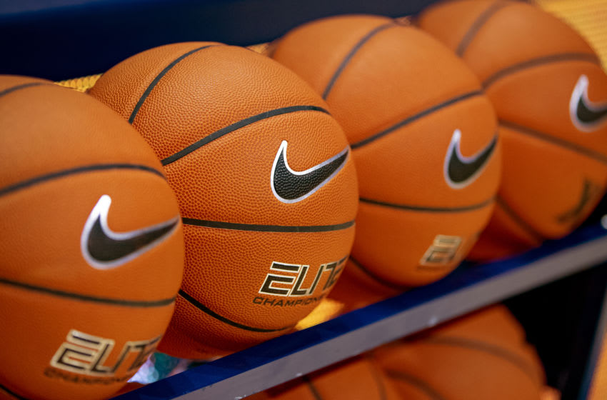 CINCINNATI, OH - NOVEMBER 28: General view of Nike basketballs are seen on the rack before the Xavier Musketeers and Miami (Oh) Redhawks game at Cintas Center on November 28, 2018 in Cincinnati, Ohio. (Photo by Michael Hickey/Getty Images)