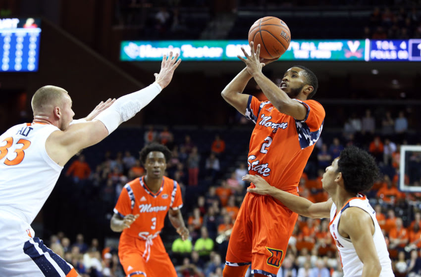CHARLOTTESVILLE, VA - DECEMBER 03: Martez Cameron #2 of the Morgan State Bears shoots over Jack Salt #33 of the Virginia Cavaliers in the first half during a game at John Paul Jones Arena on December 3, 2018 in Charlottesville, Virginia. (Photo by Ryan M. Kelly/Getty Images)