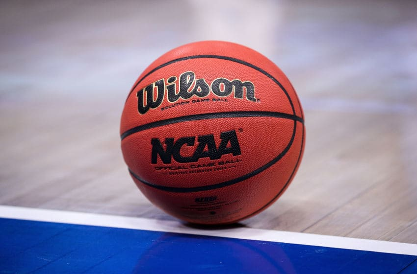 CHICAGO, ILLINOIS - DECEMBER 22: A detail view of a Wilson basketball on the court during the game between the Kentucky Wildcats and North Carolina Tar Heels during the CBS Sports Classic at the United Center on December 22, 2018 in Chicago, Illinois. (Photo by Dylan Buell/Getty Images)