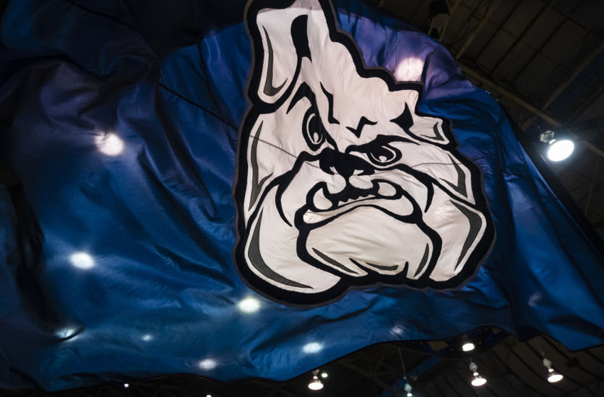 INDIANAPOLIS, IN - JANUARY 30: A general view of a Butler Bulldogs flag seen during the game against the Marquette Golden Eagles at Hinkle Fieldhouse on January 30, 2019 in Indianapolis, Indiana. (Photo by Michael Hickey/Getty Images)