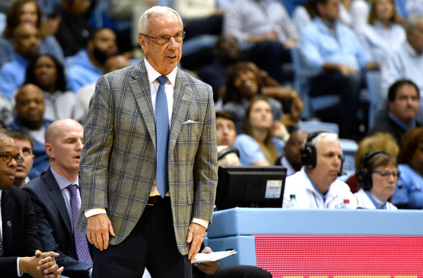 CHAPEL HILL, NC - FEBRUARY 09: Head coach Roy Williams of the North Carolina Tar Heels reacts in the second half of their game against the Miami Hurricanes at Dean Smith Center on February 9, 2019 in Chapel Hill, North Carolina. UNC won 88-85 in OT. (Photo by Lance King/Getty Images)
