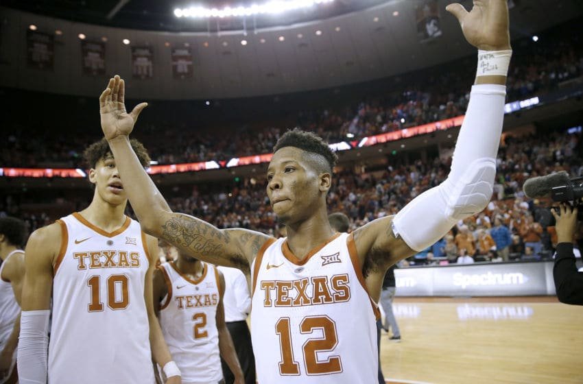 AUSTIN, TEXAS - JANUARY 19: Kerwin Roach II #12 of the Texas Longhorns reacts as his team defeats Oklahoma Sooners 75-72 at The Frank Erwin Center on January 19, 2019 in Austin, Texas. (Photo by Chris Covatta/Getty Images)