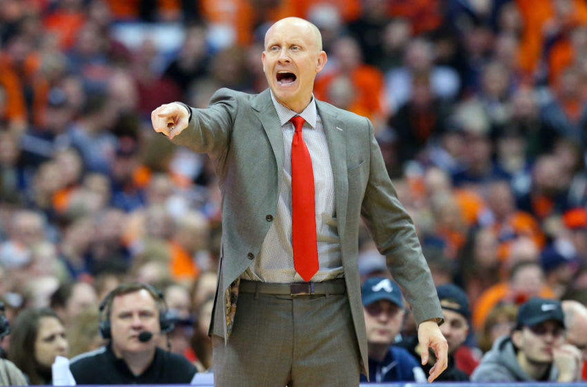 SYRACUSE, NY - FEBRUARY 20: Head coach Chris Mack of the Louisville Cardinals reacts to a play against the Syracuse Orange during the second half at the Carrier Dome on February 20, 2019 in Syracuse, New York. Syracuse defeated Louisville 69-49. (Photo by Rich Barnes/Getty Images)