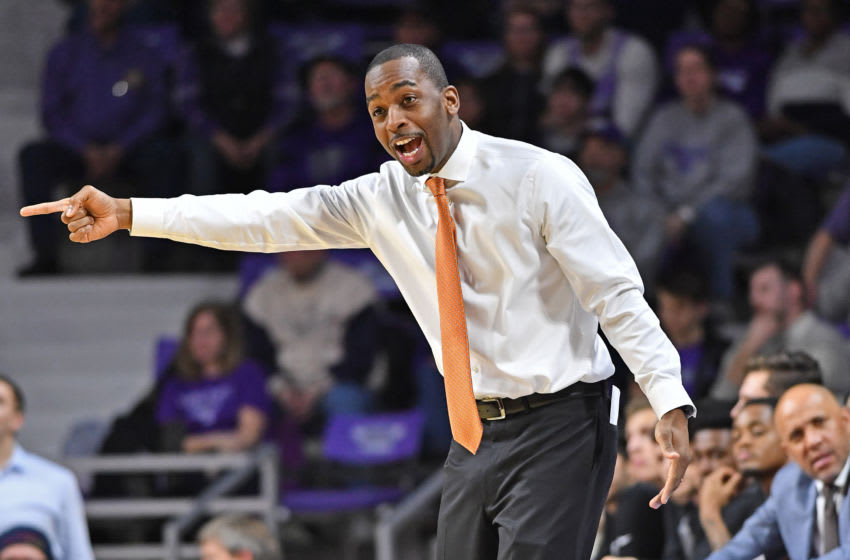 MANHATTAN, KS - FEBRUARY 23: Head coach Mike Boynton Jr. of the Oklahoma State Cowboys calls out instructions against the Kansas State Wildcats during the first half on February 23, 2019 at Bramlage Coliseum in Manhattan, Kansas. (Photo by Peter G. Aiken/Getty Images)