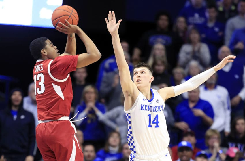 LEXINGTON, KENTUCKY - FEBRUARY 26: Tyler Herro #14 of the Kentucky Wildcats defends the shot of Mason Jones #13 of the Arkansas Razorbacks at Rupp Arena on February 26, 2019 in Lexington, Kentucky. (Photo by Andy Lyons/Getty Images)