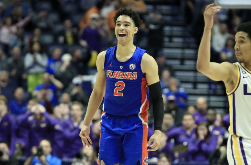 NASHVILLE, TENNESSEE - MARCH 15: Andrew Nembhard #2 of the Florida Gators celebrates in the game against the LSU Tigers during the Quarterfinals of the SEC Basketball Tournament at Bridgestone Arena on March 15, 2019 in Nashville, Tennessee. (Photo by Andy Lyons/Getty Images)