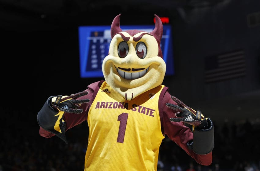 DAYTON, OHIO - MARCH 20: The Arizona State Sun Devils mascot performs during the second half against the St. John's Red Storm in the First Four of the 2019 NCAA Men's Basketball Tournament at UD Arena on March 20, 2019 in Dayton, Ohio. (Photo by Joe Robbins/Getty Images)