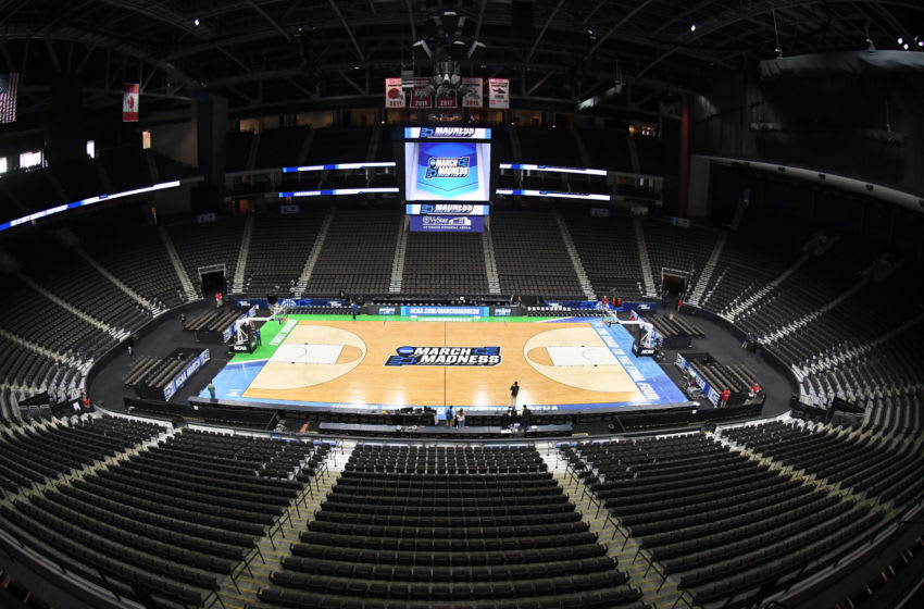 JACKSONVILLE, FL - MARCH 20: The NCAA March Madness logo on the floor during the NCAA Basketball First round practice session at the VyStar Veterans Memorial Arena on March 20, 2019 in Jacksonville, Florida. (Photo by Mitchell Layton/Getty Images)