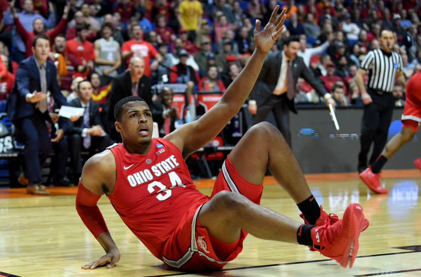TULSA, OKLAHOMA - MARCH 22: Kaleb Wesson #34 of the Ohio State Buckeyes looks for the foul against the Iowa State Cyclones during the second half in the first round game of the 2019 NCAA Men's Basketball Tournament at BOK Center on March 22, 2019 in Tulsa, Oklahoma. (Photo by Harry How/Getty Images)