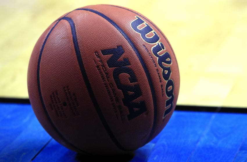 DES MOINES, IOWA - MARCH 23: A detailed view of a Wilson basketball on the sideline of the court during the second half in the second round game between the Minnesota Golden Gophers and the Michigan State Spartans of the 2019 NCAA Men's Basketball Tournament at Wells Fargo Arena on March 23, 2019 in Des Moines, Iowa. (Photo by Andy Lyons/Getty Images)
