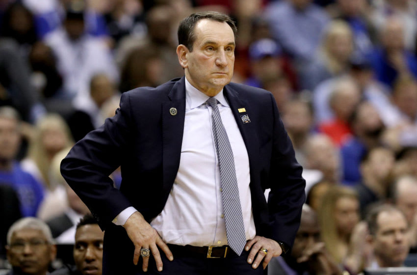 WASHINGTON, DC - MARCH 31: Head coach Mike Krzyzewski of the Duke Blue Devils reacts against the Michigan State Spartans during the first half in the East Regional game of the 2019 NCAA Men's Basketball Tournament at Capital One Arena on March 31, 2019 in Washington, DC. (Photo by Patrick Smith/Getty Images)