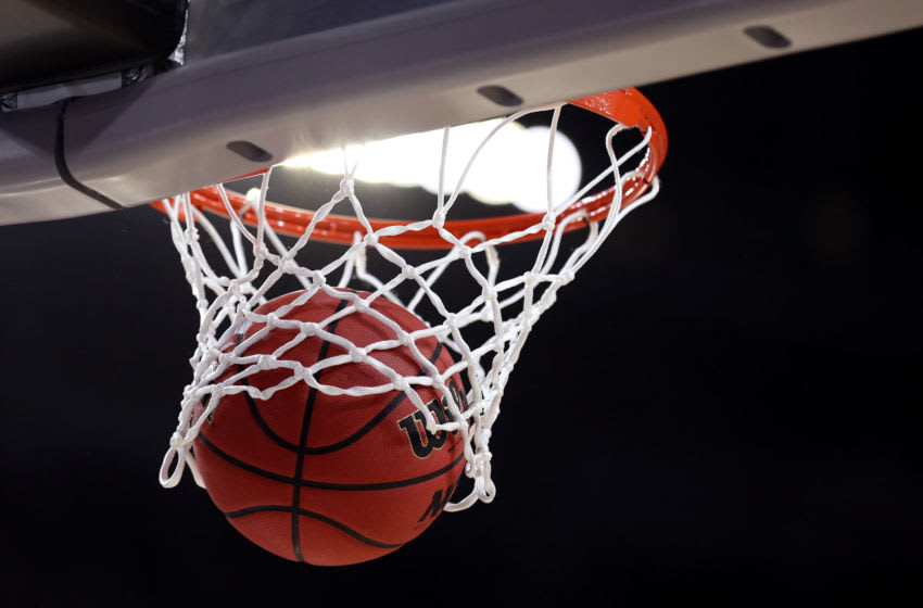 MINNEAPOLIS, MINNESOTA - APRIL 08: A view of the official game ball in the basket prior to the 2019 NCAA men's Final Four National Championship game between the Virginia Cavaliers and the Texas Tech Red Raiders at U.S. Bank Stadium on April 08, 2019 in Minneapolis, Minnesota. (Photo by Streeter Lecka/Getty Images)