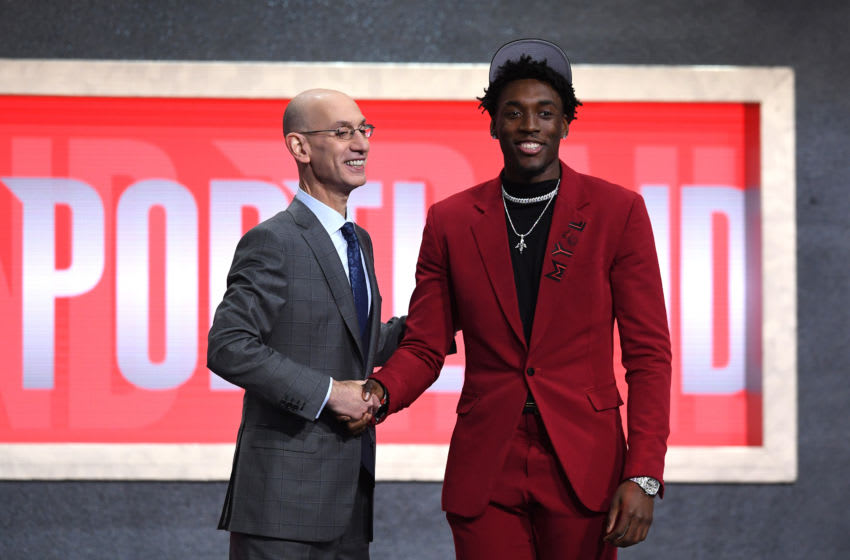 NEW YORK, NEW YORK - JUNE 20: Nassir Little poses with NBA Commissioner Adam Silver after being drafted with the 25th overall pick by the Portland Trail Blazers during the 2019 NBA Draft at the Barclays Center on June 20, 2019 in the Brooklyn borough of New York City. NOTE TO USER: User expressly acknowledges and agrees that, by downloading and or using this photograph, User is consenting to the terms and conditions of the Getty Images License Agreement. (Photo by Sarah Stier/Getty Images)