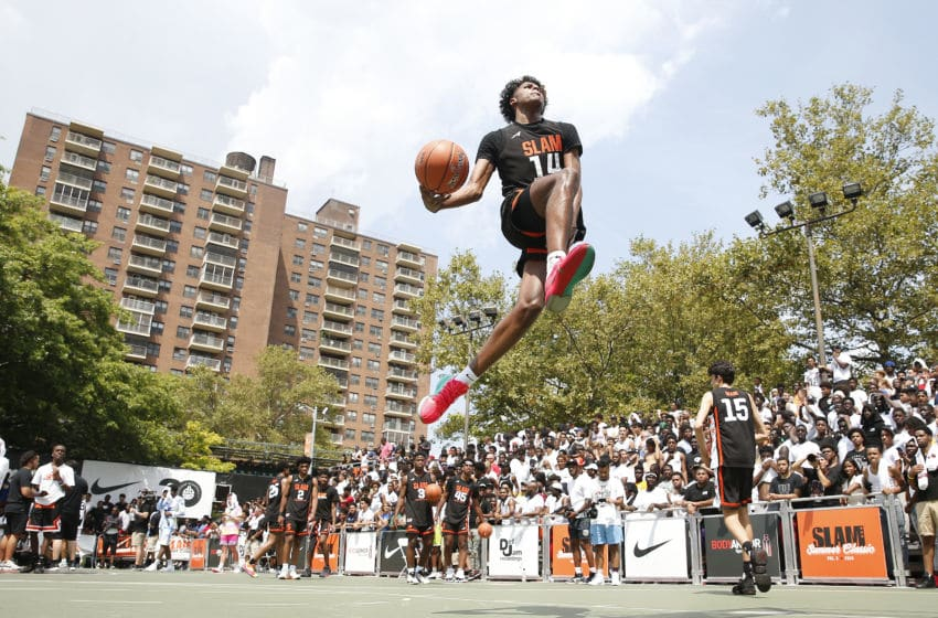 NEW YORK, NEW YORK - AUGUST 18: Jalen Green #14 of Team Zion dunks prior to the game against Team Jimma during the SLAM Summer Classic 2019 at Dyckman Park on August 18, 2019 in New York City. (Photo by Michael Reaves/Getty Images)