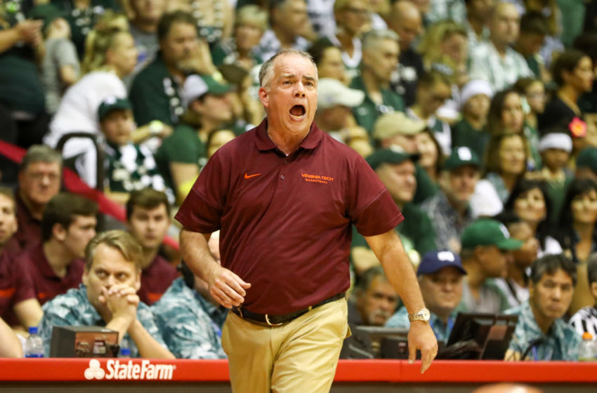 LAHAINA, HI - NOVEMBER 25: Head coach Mike Young of the Virginia Tech Hokies in action during the first half against the Michigan State Spartans at the Lahaina Civic Center on November 25, 2019 in Lahaina, Hawaii. (Photo by Darryl Oumi/Getty Images)