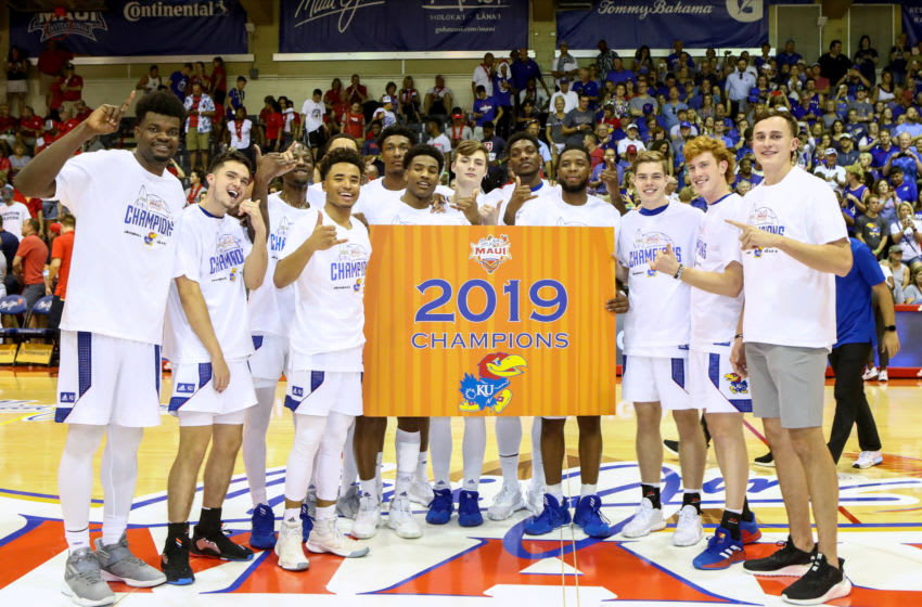 LAHAINA, HI - NOVEMBER 27: The Kansas Jayhawks pose for a photo after winning the championship game of the 2019 Maui Invitational against the Dayton Flyers at the Lahaina Civic Center on November 27, 2019 in Lahaina, Hawaii. (Photo by Darryl Oumi/Getty Images)