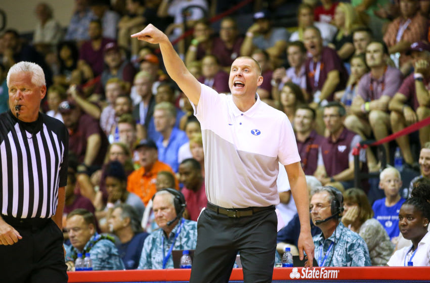 LAHAINA, HI - NOVEMBER 27: Head coach Mark Pope of the BYU Cougars features to his players during the second half of the game against the Virginia Tech Hokies at the Lahaina Civic Center on November 27, 2019 in Lahaina, Hawaii. (Photo by Darryl Oumi/Getty Images)